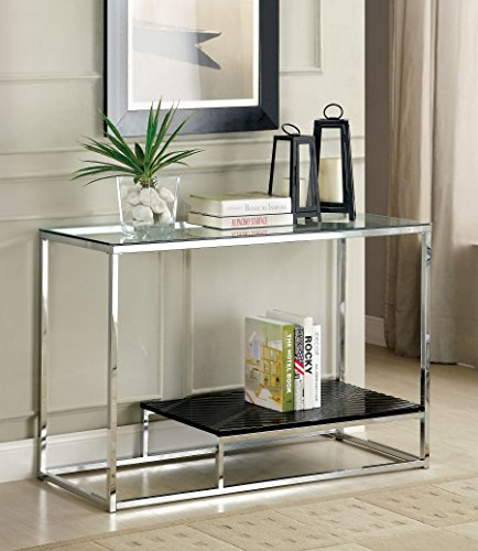 """Furniture of America Gacelle Sofa table, 54"""" x 17.75"""" x 26.25"""", Black/Chrome - Striking Contemporary style design 8mm Tempered glass top on metal frame, textured display shelf Finished in Black, also available in White - living-room-furniture, living-room, console-tables - 51AoH%2BOf6xL -"""