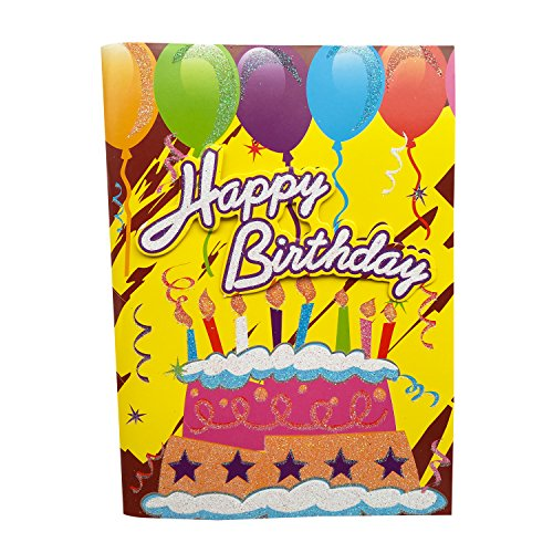 Musical Birthday Card, Interactive Sound Birthday Cards with Absolute Music - Happy Birthday to You - Birthday Cake 1 Piece Random