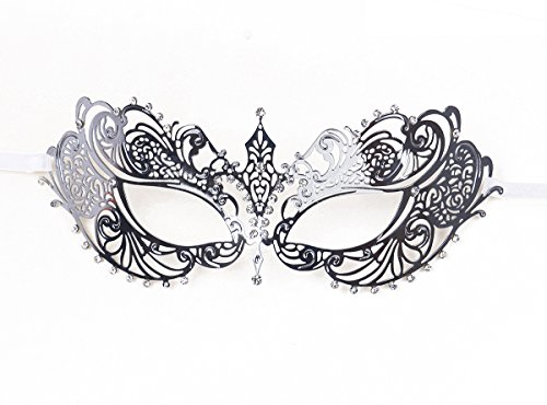 Women's Metal Filigree Laser Cut Venetian Masquerade Halloween Mask, Silver (Masquerade Halloween)