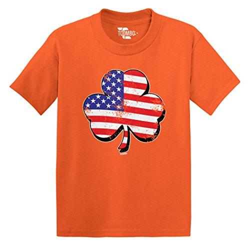 Tcombo Irish Clover - Distressed American Flag - ST Patricks Toddler Little Boy/Infant T-Shirt (6M, Orange) ()