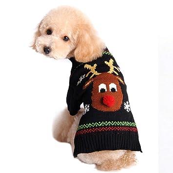 Dragon868 Pet Ropa Jersey Invierno Vestido Navidad Calientes Cuello de Cisne Alce Disfraz Ropa