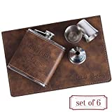 Set of 6 - Personalized 6oz Leatherette Flask Groomsmen Gift Set Engraved Flask Groomsman Gifts Personalized Flask Groomsman Kit, Wedding Favor Customized Flask for Liquor | Rustic #4