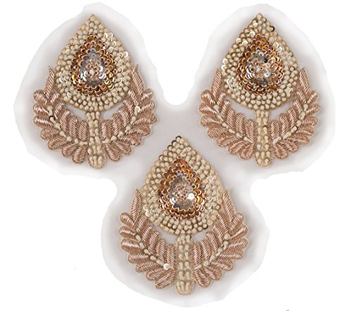 - 3 Hand Beaded Sewing Appliques Rose Gold Bridal Large Patches Sparkling Bullion