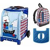 ZUCA Kids' Mini Pirate Bag / Blue Frame + Backpack and Seat Cushion