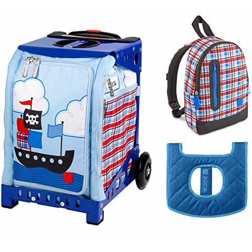 ZUCA Kids' Mini Pirate Bag / Blue Frame + Backpack and Seat Cushion by ZUCA