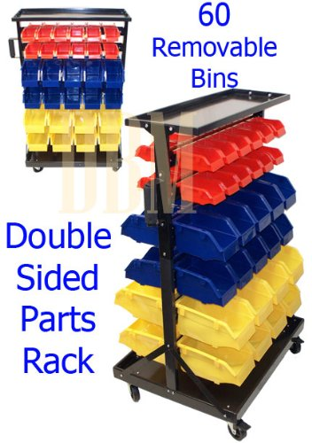 Double Sided Parts Rack Storage Shelf Organizer With 60 Removable Bins by Generic