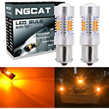 NGCAT Auto LED Bulb 2PCS BAU15S 1156 7507 PY21W 12496 5009 7507AST 2835 21 SMD Chipsets LED Bulbs with Lens Projector Brake Turn Signal Tail Backup Reverse Lights,Amber 10-16V 10.5W