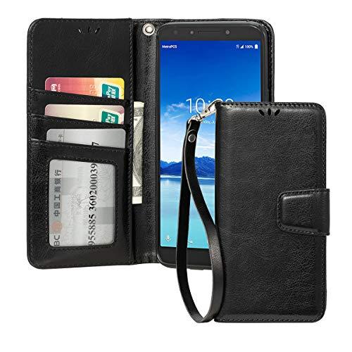 for Alcatel 7/T-Mobile Revvl 2 Plus Phone Case Wallet,Shemax Magnetic Flip Wallet Card Slot Bumper for T-Mobile Revvl 2 Plus Kickstand Protective Cover for Alcatel 7-Black