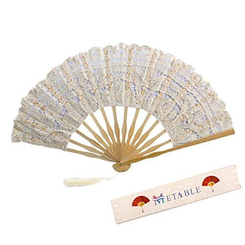 Metable Lace Fan Cotton Lace Embroidered with Bamboo Stem Design Victorian Romantic Style Women Folding Fan Bridal Party Handheld Fan for Wedding & Dancing Decoration 10.5