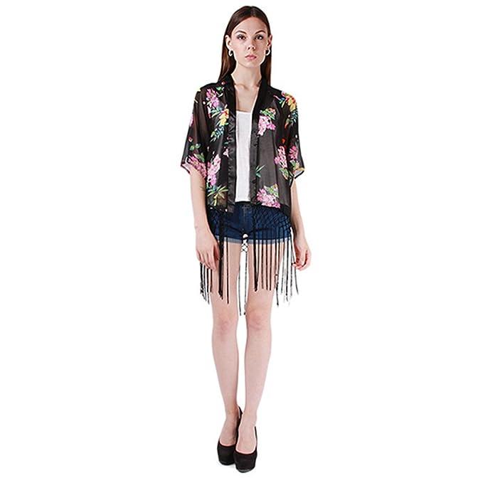 Lantomall Fashion Tops para mujer diseño estampado con flores de chifón de camiseta de manga larga