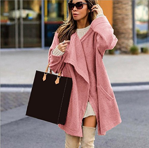 Jacket Cardigan Pink Solid Ladies Color Parka Winter Outwear Dragon868 Warm Coat Long Coat Sleeve Women Fashion qS4nwfZxOz