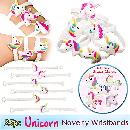 Magical Unicorn Party Novelty Toy Wristband for Children, 25 Mixed Design Assortment, w/5 FREE Unicorn Charms (Unicorn Charms)