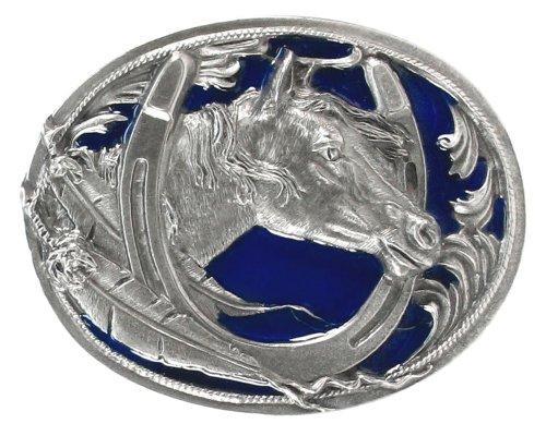 Pewter Belt Buckle - Horse Head in Horseshoe - Pewter Belt ()