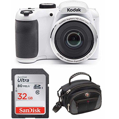 "Kodak PIXPRO AZ252 Point & Shoot Digital Camera with 3"" LCD, White 32GB Bundle"