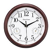 Kiera Grace Metz Indoor/Outdoor Wall Clock with Temperature and Humidity Gauge, 9-Inch, 2-Inch Deep, Wood Grain Finish