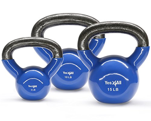 (Yes4All Combo Vinyl Coated Kettlebell Weight Sets - Great for Full Body Workout and Strength Training - Vinyl Kettlebells 5 10 15 lbs)