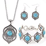 Retro Jewelry Set Classic Bohemian Wind Turquoise Earrings Necklace Bracelet Set for Women Girls Ladies Any Occasion