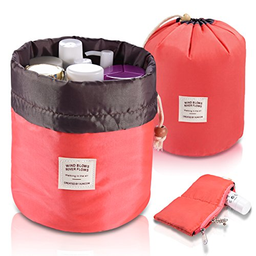 Foldable Round Bucket Style Travel Makeup Bag + Small Zipper Jewelry Purse + Clear PVC Pouch for Cosmetic Brush, Drawstring Closure Nylon Carrying Case Holder, Lightweight Bathroom Wash Bag Coral Red