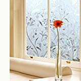 Vakker Bahay Vinyl Static Cling Floral Window Film Clear Frosted Flower Patterned Decorative Non Adhesive Stained Privacy Glass Film for Bathroom Office Shower 17.7 x 78.7 Inches (45CM by 200CM)