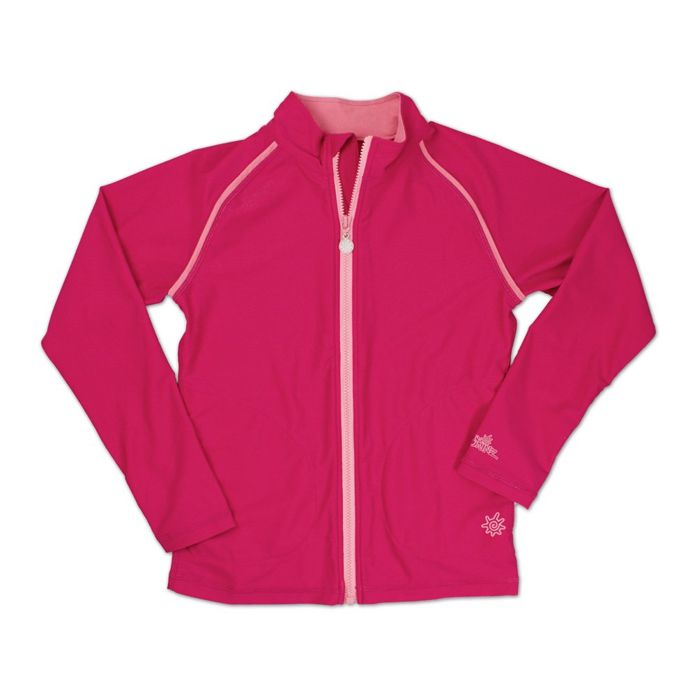 UV SKINZ UPF50+ Girls Full Zip Water Jacket-Hot Pink-12 by UV SKINZ