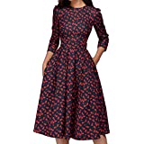 KYLEON Dress for Women A-Line Pocket 3/4 Sleeve Boho Floral Elegant Loose Party Casual Summer Midi Swing Dress with Belt