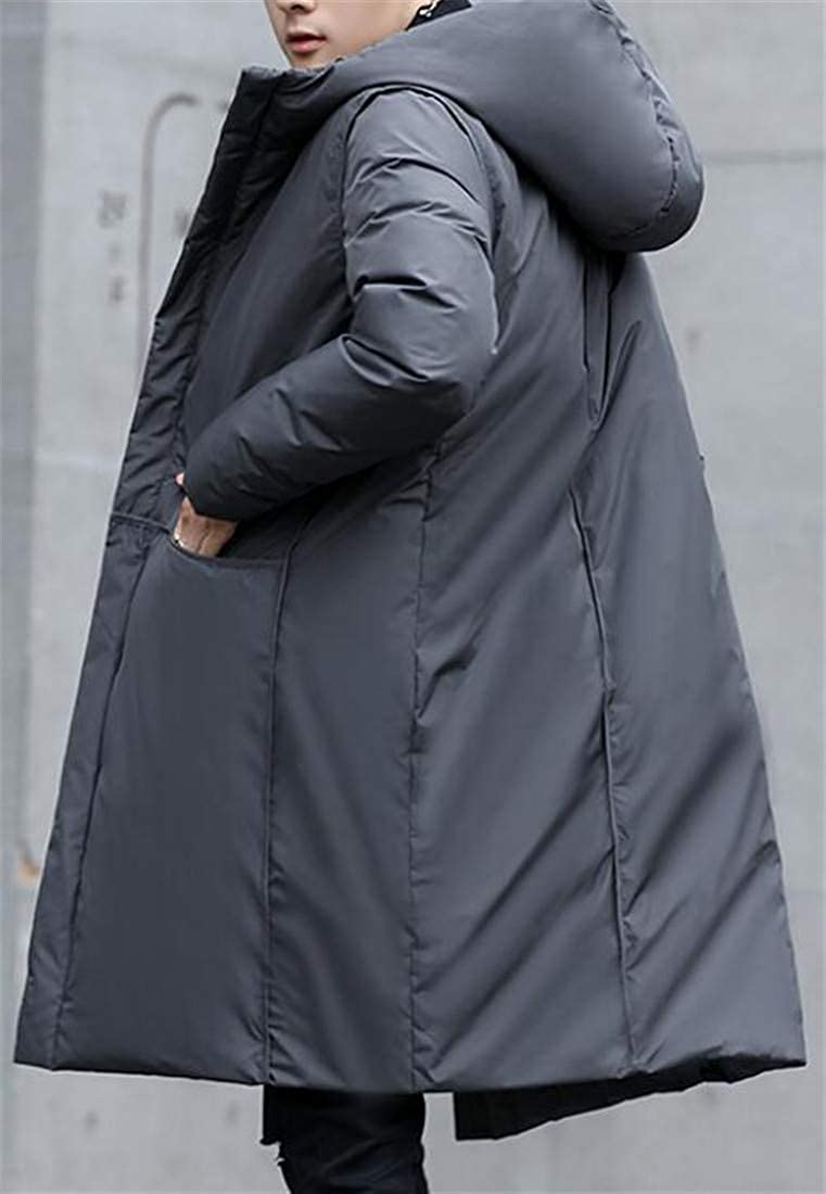 Joe Wenko Mens Padded Basic Hooded Quilted Pocket Midi Down Outerwear Coats Jacket