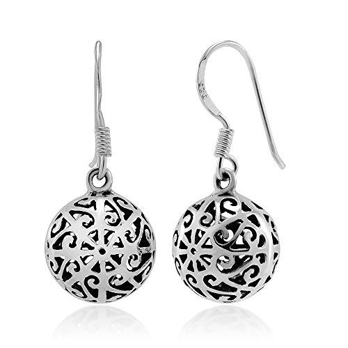 925 Sterling Silver Bali Inspired Filigree Ball Detailed Dangle Hook Earrings