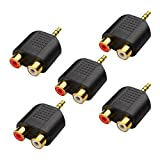 Cable Matters 5-Pack, Gold Plated 3.5mm Stereo to 2-RCA Male to Female Adapter