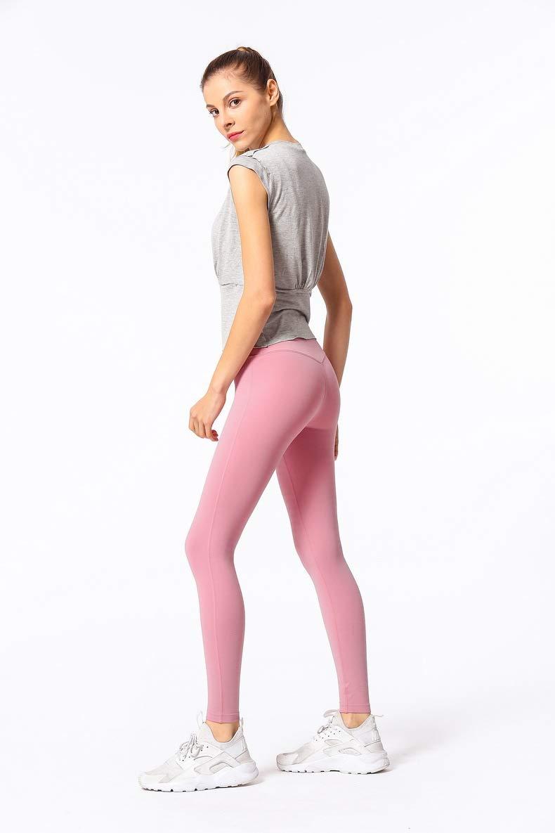 MAOYYMYJK Yoga-Hose Für Damen Doppelseitiges Schleifen Pfirsich Pfirsich Hüfte Körper Hohe Taille Nackt Yoga Hosen Frauen Sport Enge Fitness Hosen Frauen Laufen