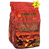 Hardwood Briquettes by Original Natural Charcoal - 2 X 100% Premium All-Natural Pillow Shaped Charcoals - Lights Easy, Burns Quickly, Adds Extra Flavor To Meats - 100% (7.07 lb.)