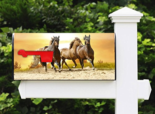 Awesome Mailbox - Beautiful Horses Design - Metal, Post Mount and Made in the USA