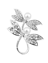 ALBEST Jewelry Women's Exquisite Double Dragonflies Pearl Brooches Pin