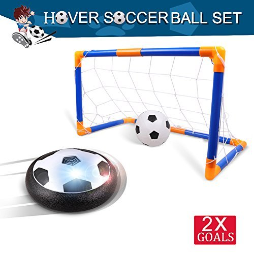 Rolytoy Kids Toys Soccer Goal Set, Upgrade Boys Toys Hover Soccer Ball with Gate, Air Power Training Footall with LED Light and Music (on/off) Sport Girl Toys for Indoor Outdoor - Sports Activities Winter And