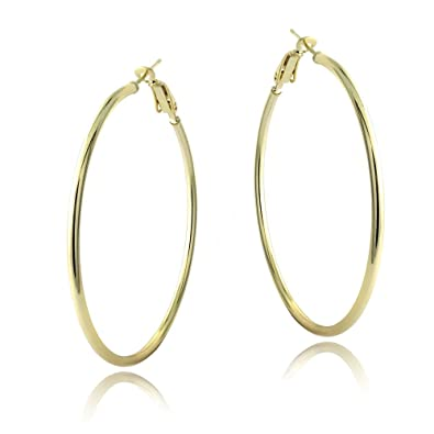 18K Gold over Sterling Silver 50mm Polished Hoop Earrings Amazon