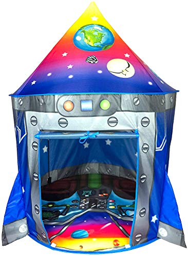 Indoor Imaginative Toys Play (Rocket Ship Play Tent Playhouse | Unique Space and Planet Design for Indoor and Outdoor Fun, Imaginative Games & Gift | Foldable Playhouse Toy + Carry Bag for Boys & Girls | by Imagenius Toys)