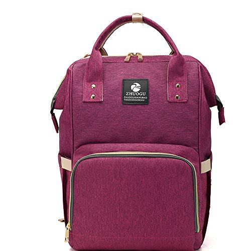 Oxford & Polyester Backpack Large Capacity & Sewing Thread & Soft Surface & Hardwearing & mom Bag & Waterproof Solid (Purple, Small Size 340x220x150mm)
