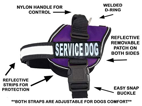 - Service Dog Harness Vest Comes with 2 Reflective Service Dog Hook & Loop Patches. Please Measure Dog Before Ordering (Girth 12-16