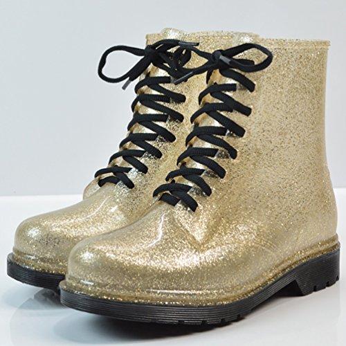 LvRao Mujeres Boots Tacones Altos Impermeable de Nieve Lluvia Zapatos Botas Cortas de Jardín de las Señoras Oro