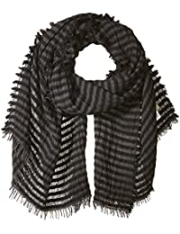 Women's Italian Reversible Striped Light Scarf With Fringe
