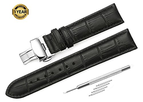 iStrap 22mm Calf Leather Padded Replacement Watch Band W/ Push Button Deployment Buckle Black 22