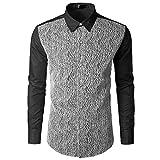 kaifongfu Shirt,Autumn Men's Long Sleeve Lace Ptchwork Shirts Top Blouse(Black,M)
