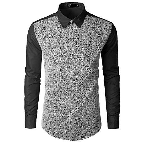 kaifongfu Shirt,Autumn Men's Long Sleeve Lace Ptchwork Shirts