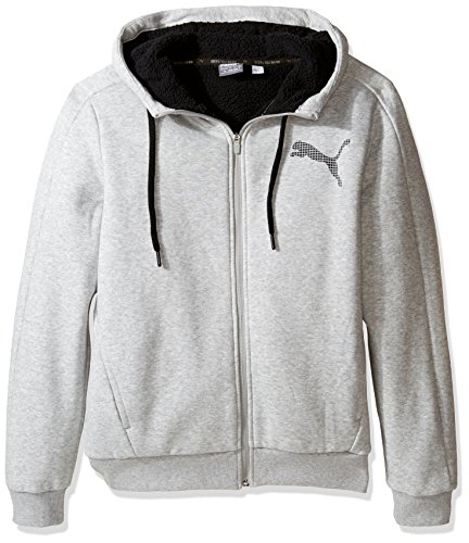 PUMA Men's Sherpa Full Zip Hoody, Light Gray Heather, Large