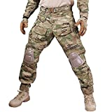 IDOGEAR Men G3 Combat Pants MultiCam Camouflage with Knee Pads Airsoft Hunting Paintball Tactical Outdoor Trousers (Large - 33.5'' waist)