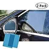 FMS Car Rearview Mirror Window Rainproof Protective Film, Anti-fog Anti-glare Anti-scratch View Mirror Window Nano Coating Waterproof Soft Clear Rainproof Film 2 PCS (Rectangle)