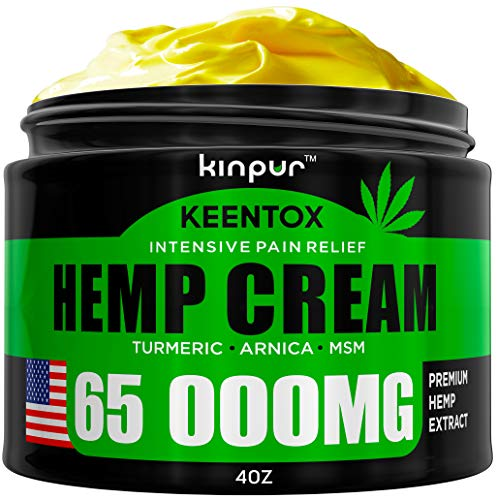 Hemp Pain Relief Cream - 65 000MG - Relieves Muscle, Joint Pain, Lower Back Pain, Knees, and Fingers - Inflammation - Hemp Extract Remedy - Hemp Oil with MSM - EMU Oil - Arnica - Turmeric Made in USA