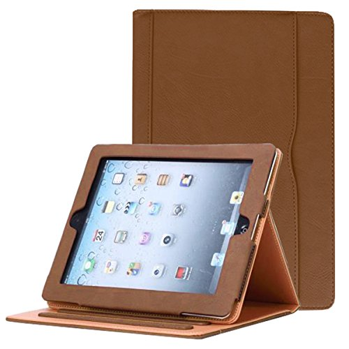 JYtrend iPad 2 /iPad 3 /iPad 4 Case, Multi-Angle Viewing Stand Leather Folio Smart Cover with Pocket, Auto Wake Up/Sleep for iPad 2/3/4 A1395 A1396 A1397 A1403 A1416 A1430 A1458 A1459 A1460 (Brown)