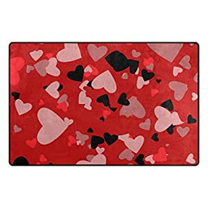 U LIFE Valentines Day Colorful Heart Love Summer Spring Wedding Large Doormats Area Mats Runner Floor Mat Cover Carpet for Entrance Way Living Room Bedroom Kitchen Office 36 x 24 Inch