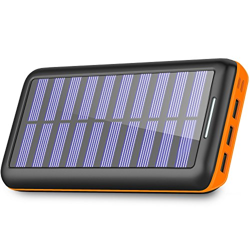 Solar Charger 24000mAh Portable Charger,PLOCHY Solar Power Bank Phone charger with 3 Fast Charging USB Port and Dual Input(Lightning & Micro) External Battery Pack for All Smartphone Tablet (Charger Solar Portable)
