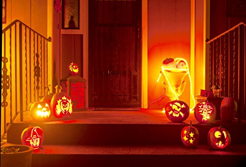 Leyiyi 7x5ft Photography Background Happy Halloween Party Backdrop Pumpkin Lamps Apartment Doorway Outdoor Stairs Horro Costume Carnival Night Trick or Treat Photo Portrait Vinyl Studio Video -